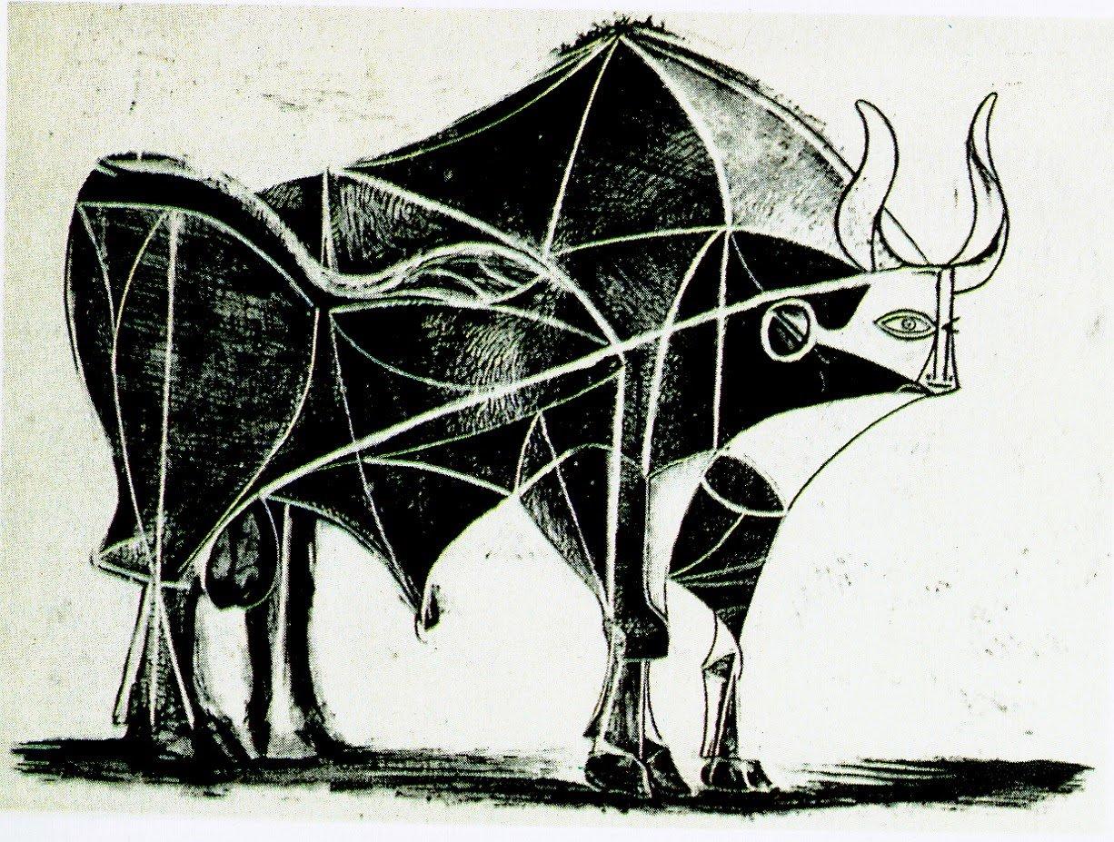El toro, lámina 5 (24 de diciembre de 1945) Pluma y raspador, estampada sobre papel vitela con filigrana Arches